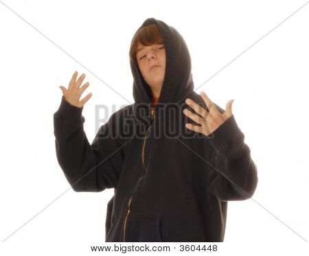 Young Teen Boy Gesturing To Fight