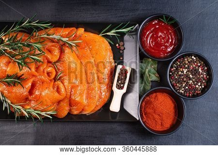 Sottilissime. Delicious Dietary Meat With Tomatoes And Spices. Cooking,food Of Meat And Fillets.raw