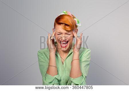 Headache Migraine Person Woman Stressed. Closeup Portrait Young Female Girl With Migraine Headache O