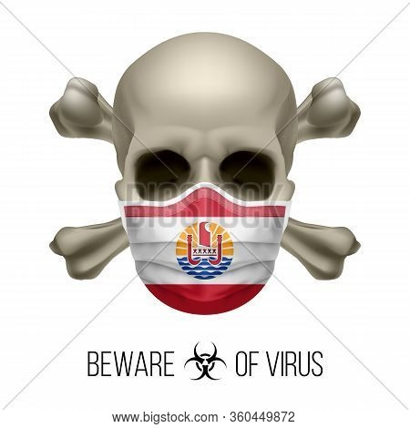 Human Skull With Crossbones And Surgical Mask In The Color Of National Flag French Polynesia. Mask I