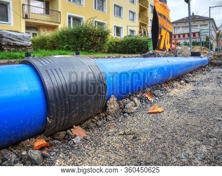 Hdpe Pipe Weld For Connecting The Water Pipe System. Temporary Street Water Pipeline Construction.