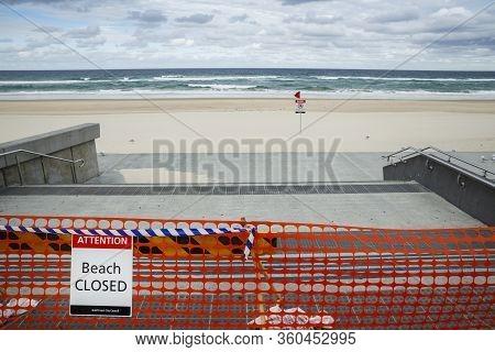 Surfers Paradise Beach Closed, Covid-19 Virus, Beach Closed Or Shutdown Concept Amid Coronavirus Fea