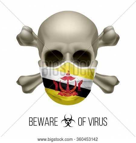 Human Skull With Crossbones And Surgical Mask In The Color Of National Flag Brunei. Mask In Form Of