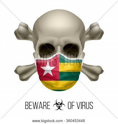 Human Skull With Crossbones And Surgical Mask In The Color Of National Flag Togo. Mask In Form Of Th