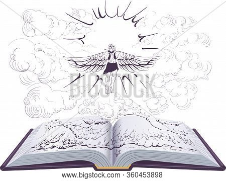 Icarus Flies To Sun Open Book Illustration Ancient Greek Legend. Vector Education Isolated On White