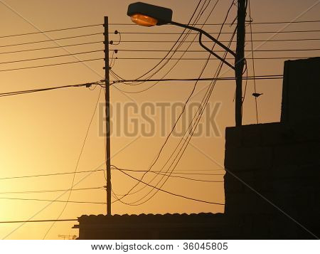 Messy Wires In Urban Landscape
