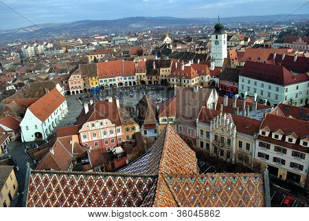 View over Sibiu from the Evanghelic Cathedral