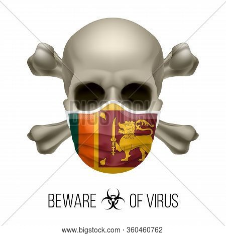 Human Skull With Crossbones And Surgical Mask In The Color Of National Flag Sri Lanka. Mask In Form