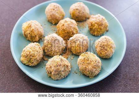 Plant-based Food,  Vegan Risotto Arancini Balls Before Been Deep Fried
