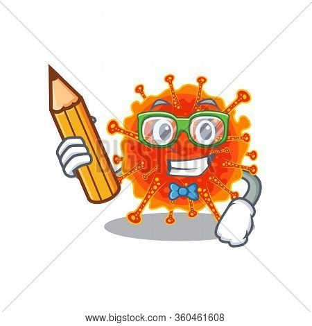A Brainy Student Riboviria Cartoon Character With Pencil And Glasses