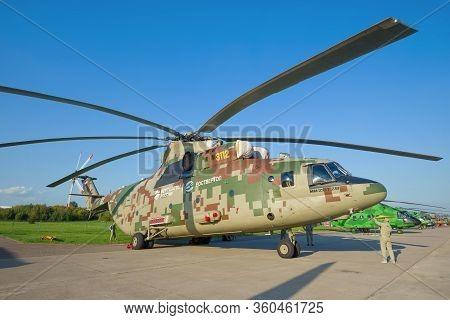 Zhukovsky, Russia - August 30, 2019: New Russian Heavy Multi-purpose Transport Helicopter Mi-26t2v O