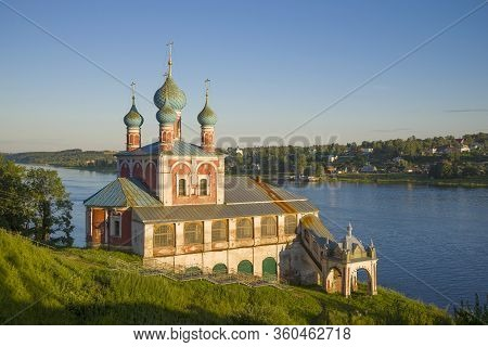 Old Church Of The Icon Of The Mother Of God Of Kazan Close Up On A Warm July Evening. Tutaev (romano
