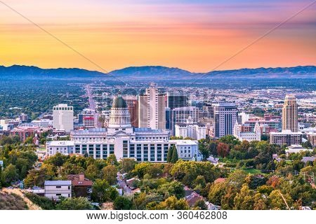 Salt Lake City, Utah, USA downtown city skyline at dusk.