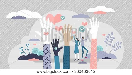 Volunteering Ready Vector Illustration. Raised Hands Flat Tiny Person Concept. Human Assistance Serv