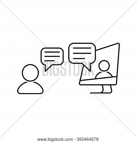 Online Conversation Vector Icon. People Talking Via Internet At Home During Quarantine. Video Chat I