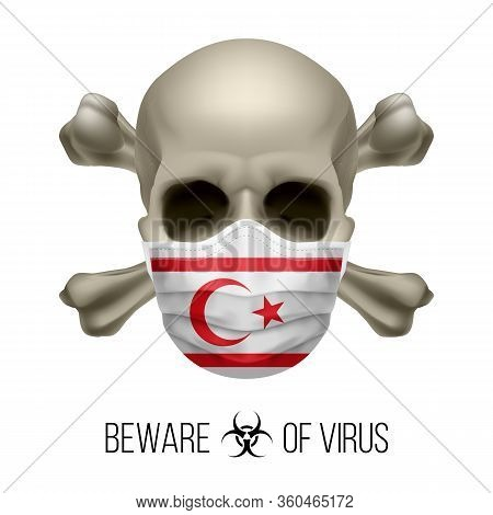 Human Skull With Crossbones And Surgical Mask In The Color Of National Flag Northern Cyprus. Mask In