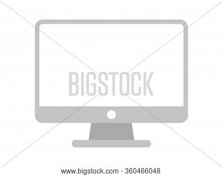 Computer Icon Grey Isolated On White Background, Front Monitor Screen Display Symbol, Modern Compute