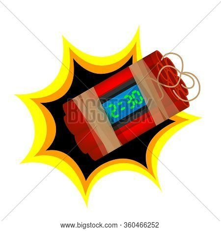 Blast Terrorist Bomb Isolated On White Background, Explode A Bomb Dynamite With Clock Dial, Red Bomb