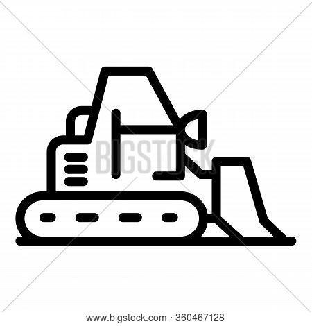 Big Bulldozer Icon. Outline Big Bulldozer Vector Icon For Web Design Isolated On White Background