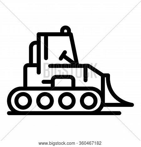 Bulldozer Machine Icon. Outline Bulldozer Machine Vector Icon For Web Design Isolated On White Backg
