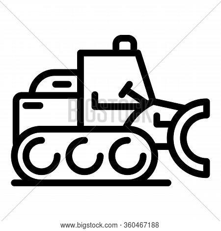 Vehicle Bulldozer Icon. Outline Vehicle Bulldozer Vector Icon For Web Design Isolated On White Backg