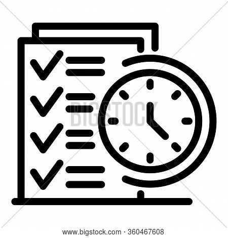 List And Clock Icon. Outline List And Clock Vector Icon For Web Design Isolated On White Background