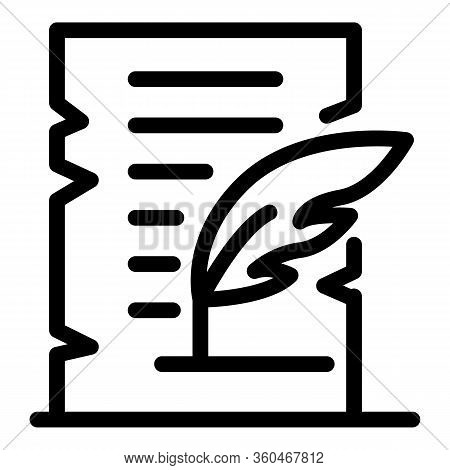 Parchment And Feather Icon. Outline Parchment And Feather Vector Icon For Web Design Isolated On Whi
