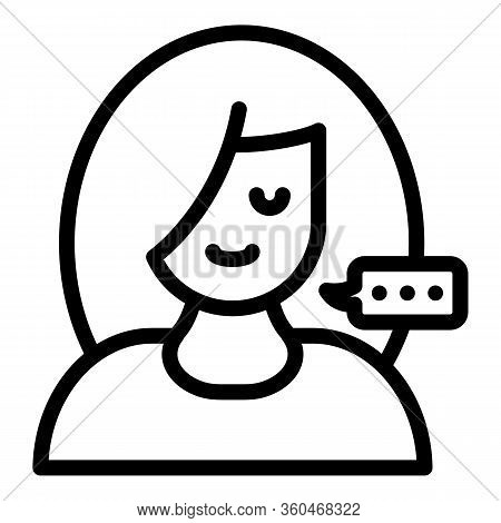 Girl And Conversational Bubble Icon. Outline Girl And Conversational Bubble Vector Icon For Web Desi