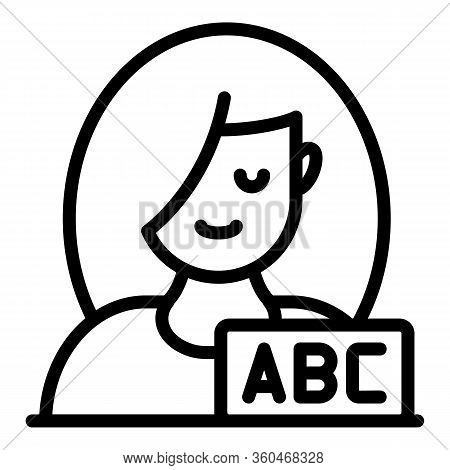 Girl Abc Icon. Outline Girl Abc Vector Icon For Web Design Isolated On White Background