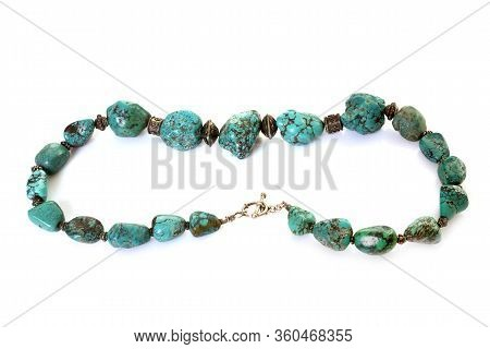 Malachite Collar In Front Of White Background