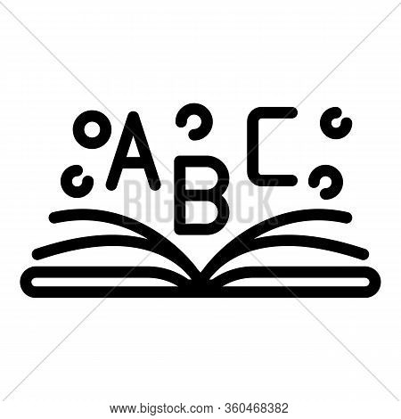 Open Book Abc Icon. Outline Open Book Abc Vector Icon For Web Design Isolated On White Background