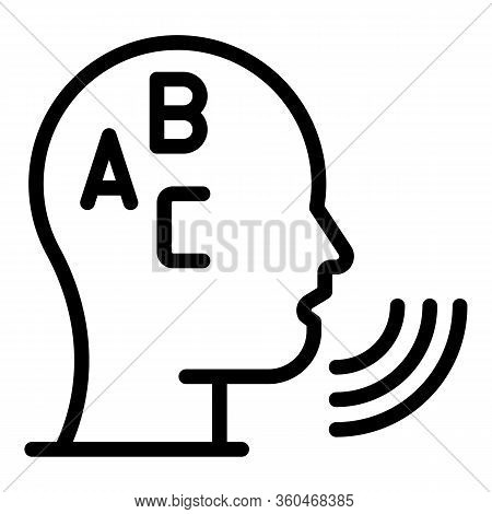 Head Abc Icon. Outline Head Abc Vector Icon For Web Design Isolated On White Background