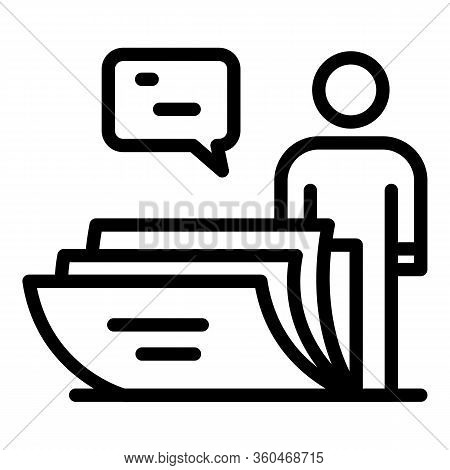 Man And A Stack Of Letters Icon. Outline Man And A Stack Of Letters Vector Icon For Web Design Isola