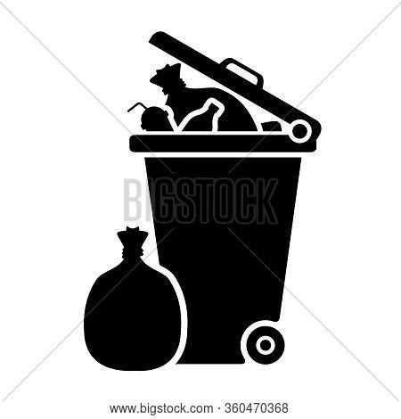 Bin, Wheelie Bin And Waste Icon Black Isolated On White Background, Clip Art Of Dustbin Garbage Full