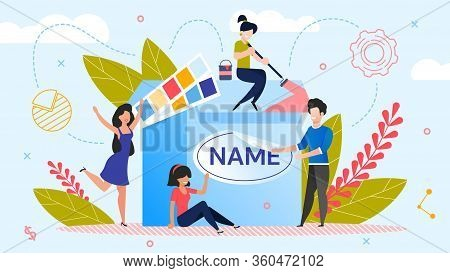 Brand Name Creation. Team Workflow Process. Woman Designer Working On Design. Man Marketer Changing