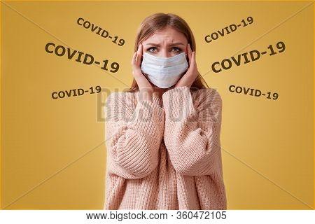 Covid-19, Pandemia. Stop Coronavirus. Viral Infection. Sars Cov 2. Seasonal Infections. Shocked Woma