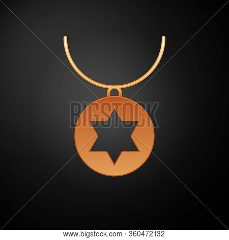 Gold Star Of David Necklace On Chain Icon Isolated On Black Background. Jewish Religion. Symbol Of I