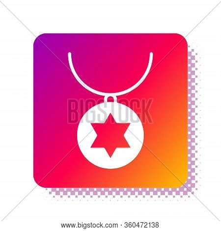 White Star Of David Necklace On Chain Icon Isolated On White Background. Jewish Religion. Symbol Of