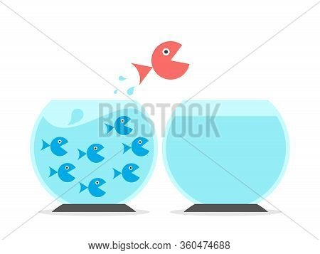 Unique Big Fish Changing Fishbowls From Crowded To Empty One. Solitude, Abundance And Scarcity Menta
