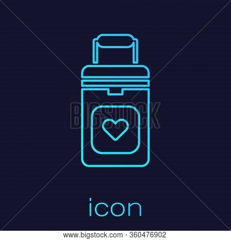 Turquoise Line Cooler Box For Human Organs Transportation Icon Isolated On Blue Background. Organ Tr