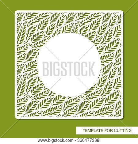 Vector Square Frame With A Pattern Of Leaves And A Round Copy Space. Design Element, Sample Panel Fo