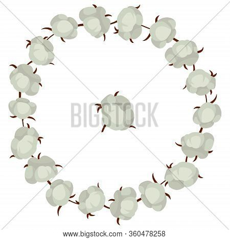Cotton Bolls Wreath; Round Frame With Cotton Plants For Greeting Cards, Invitations, Wedding Cards,