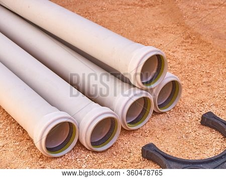 Plastic Parts Of Sewage Pipeline System At Construction Site