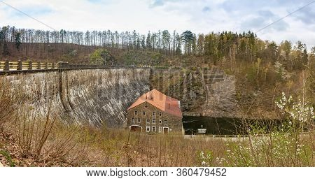 Zlotniki, Poland - April, 2019: Small Hydropower Plant Zlotniki, View Of The Dam And The Room With H