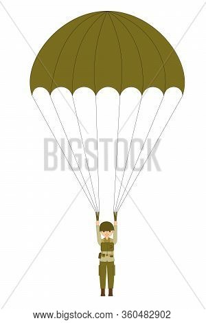 A Military Paratrooper Isolated On The White Background