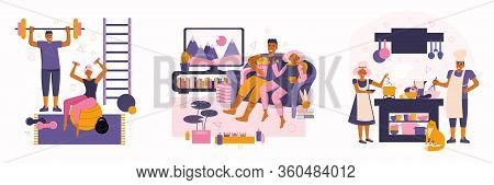 Young Couple Spend Time At Home. Spending Time Together. Family Home Leisure In Quarantine. People P