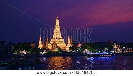 Bangkok, Thailand, 20 March 2020: Wat Arun at sunset