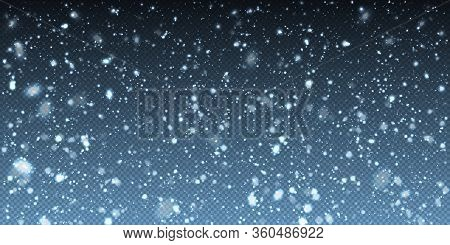 Falling Winter Christmas Realistic Snow On Transparent Background. Bokeh Lights And Flying Snowflake