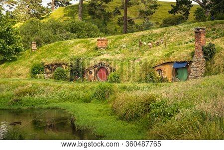 Matamata, New Zealand - December 09 2017 : The Scenery View Of Hobbit House In Hobbiton Movie Set In