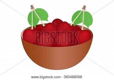 Cherry. Bowl Of Delicious Juicy Cherries Isolated On White Background. Big Pile Of Fresh Red Cherrie